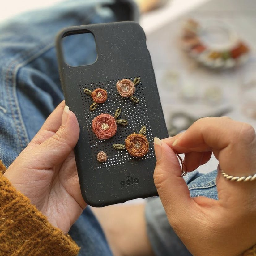 Biodegradable eco-friendly Pela Stitch phone case with embroidered flowers
