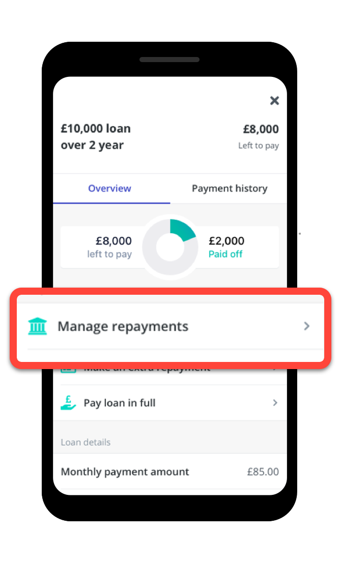 Screenshot of the loan home screen in the Zopa app with the 'manage repayments' section highlighted