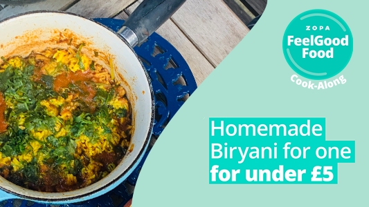 Featured image for FeelGood Cook-Along: Homemade Veg Biryani for under £5