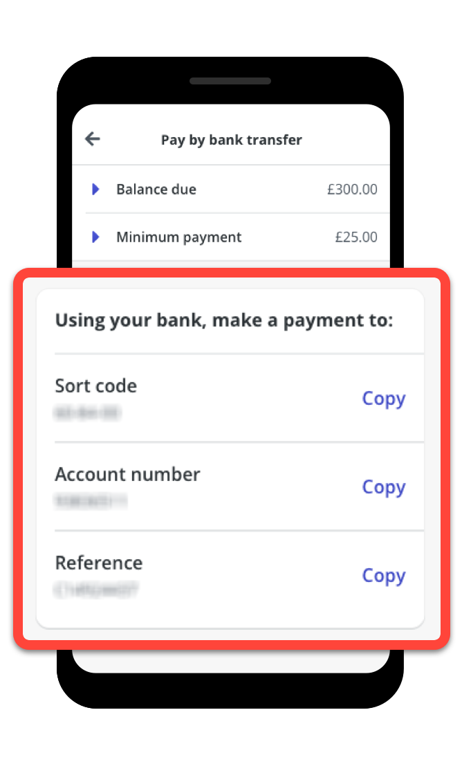 Blurred payment details