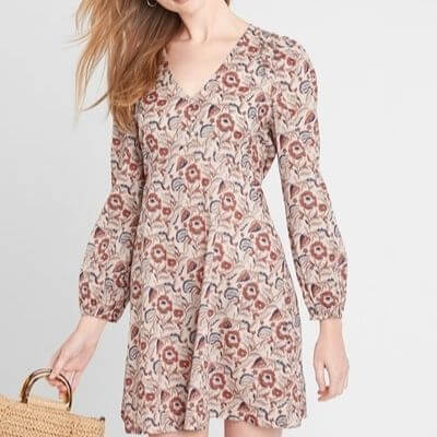 Floral V-Neck Swing Dress with Long Sleeves