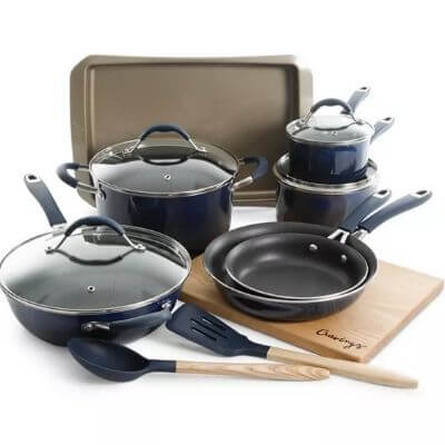 14-piece blue cookware set with five pans, one dutch oven, one baking sheet, one cutting board, one serving spoon, and one slotted turner.