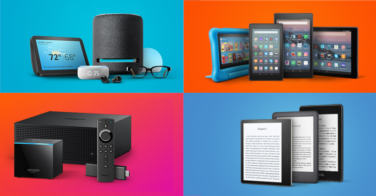 Amazon Devices on Colorful Background