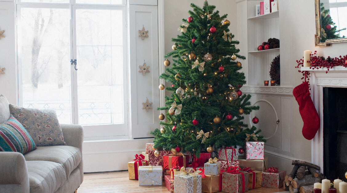 Christmas Tree in Living Room with Presents