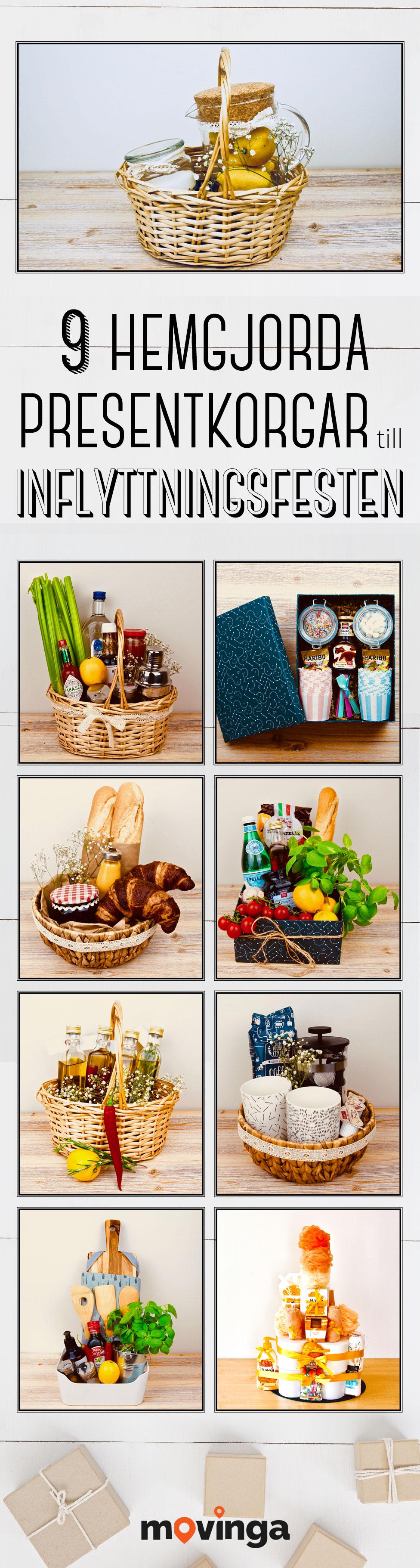 9 olika presentkorgar- och torn: presenttorn, kockens korg, kaffekorg, korg med olivolja, frukostkorg, pastakorg, glasskorg, bloody mary-korg och lemonadkorg