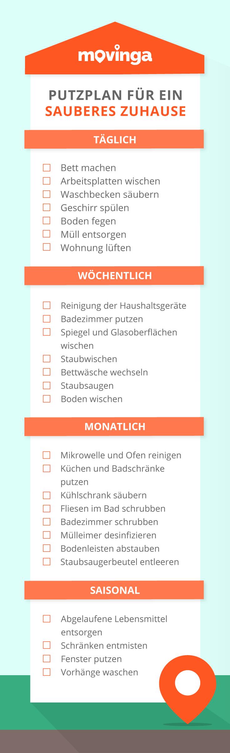 Movingas praktischer #Putzplan für ein sauberes Zuhause #infografik