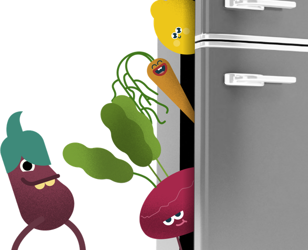 Cartoon vegetables characters coming out of fridge