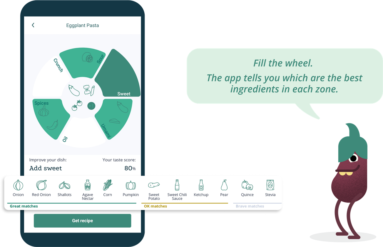 "Phone screen of the GastroWheel feature and eggplant cartoon character saying: ""Fill the wheel. The app tells you which are the best ingredients in each zone"""