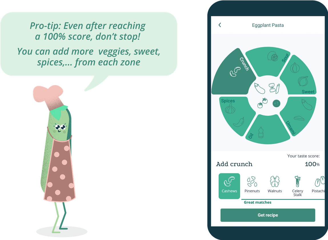 "Another phone screen showing GastroWheel and a pea cartoon character saying: ""Pro-tip: Even after reaching a 100% score, don't stop! You can add more veggies, sweet, spices etc. from each zone"""