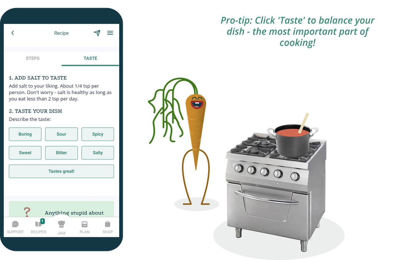 "Phone screen showing the Taster feature and a cartoon carrot character saying: ""Pro-tip: Click Taste to balance your dish - the most important part of cooking!"""