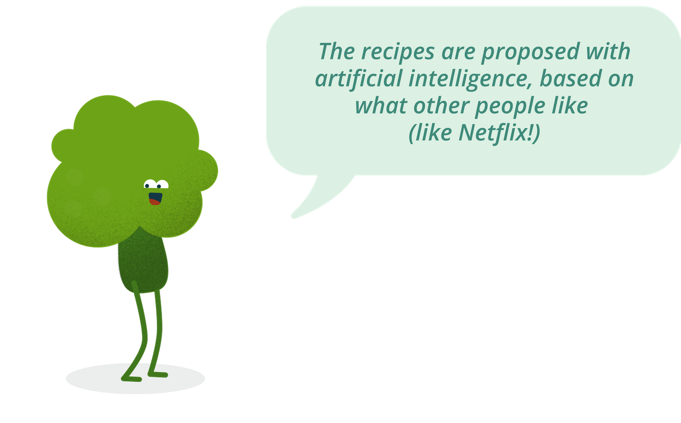 "Cartoon broccoli character saying: ""The recipes are proposed with artificial intelligence, based on what other people like (like Netflix)"""