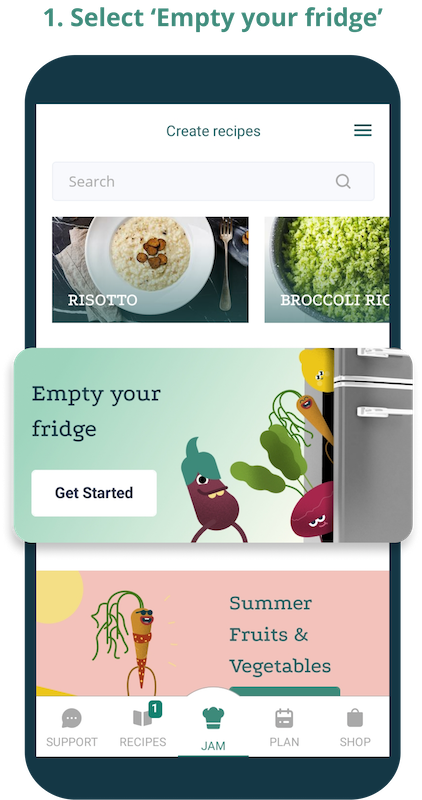 Phone screen showing front page of the app and highlighting the Empty your fridge feature