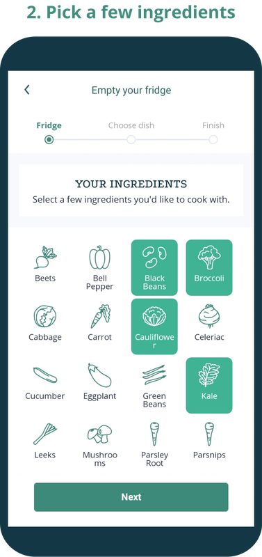 Phone screen showing ingredients with icons that have been selected from a category called Your ingredients