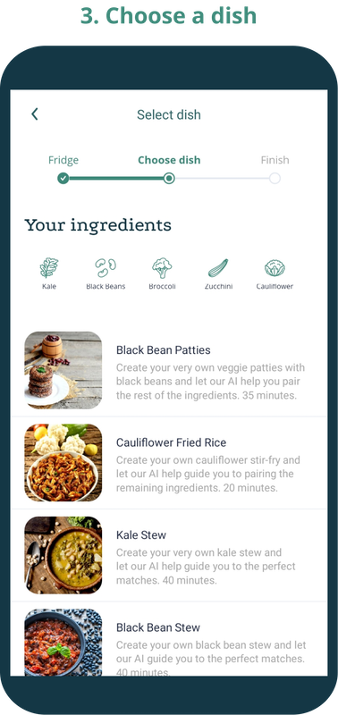 Phone screen showing possible dishes to make with the selected ingredients