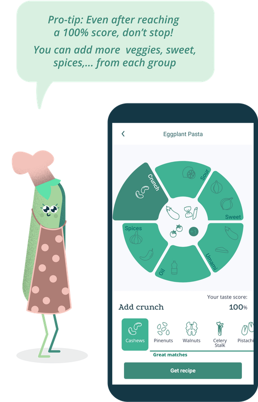 "Another phone screen showing the GastroWheel and a pea cartoon character saying: ""Pro-tip: Even after reaching a 100% score, don't stop! You can add more veggies, sweet, spices etc. from each group"""