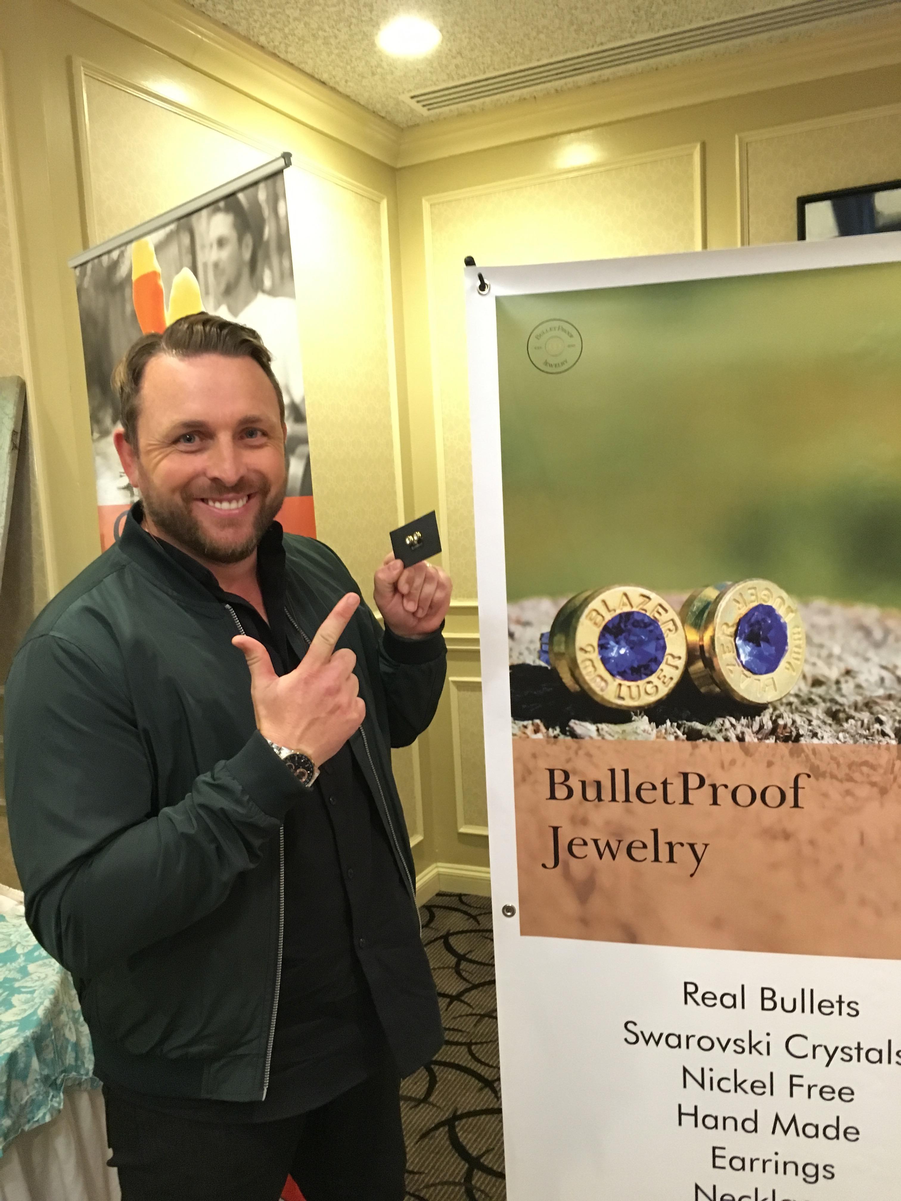 Johnny Reid at the BulletProof Jewelry display
