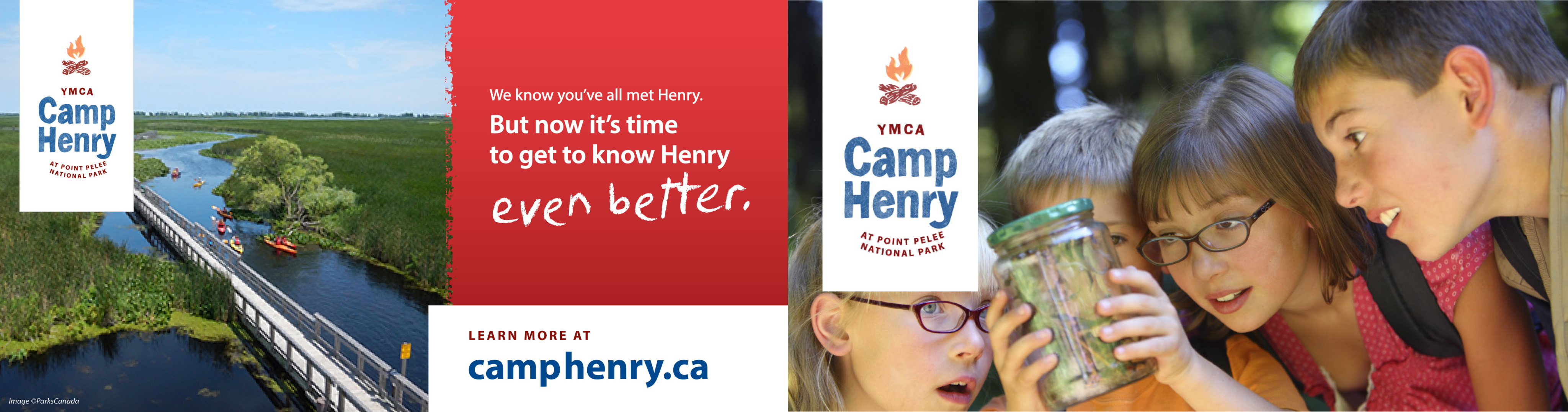 Promotional postcards displaying Camp Henry campers and campsite