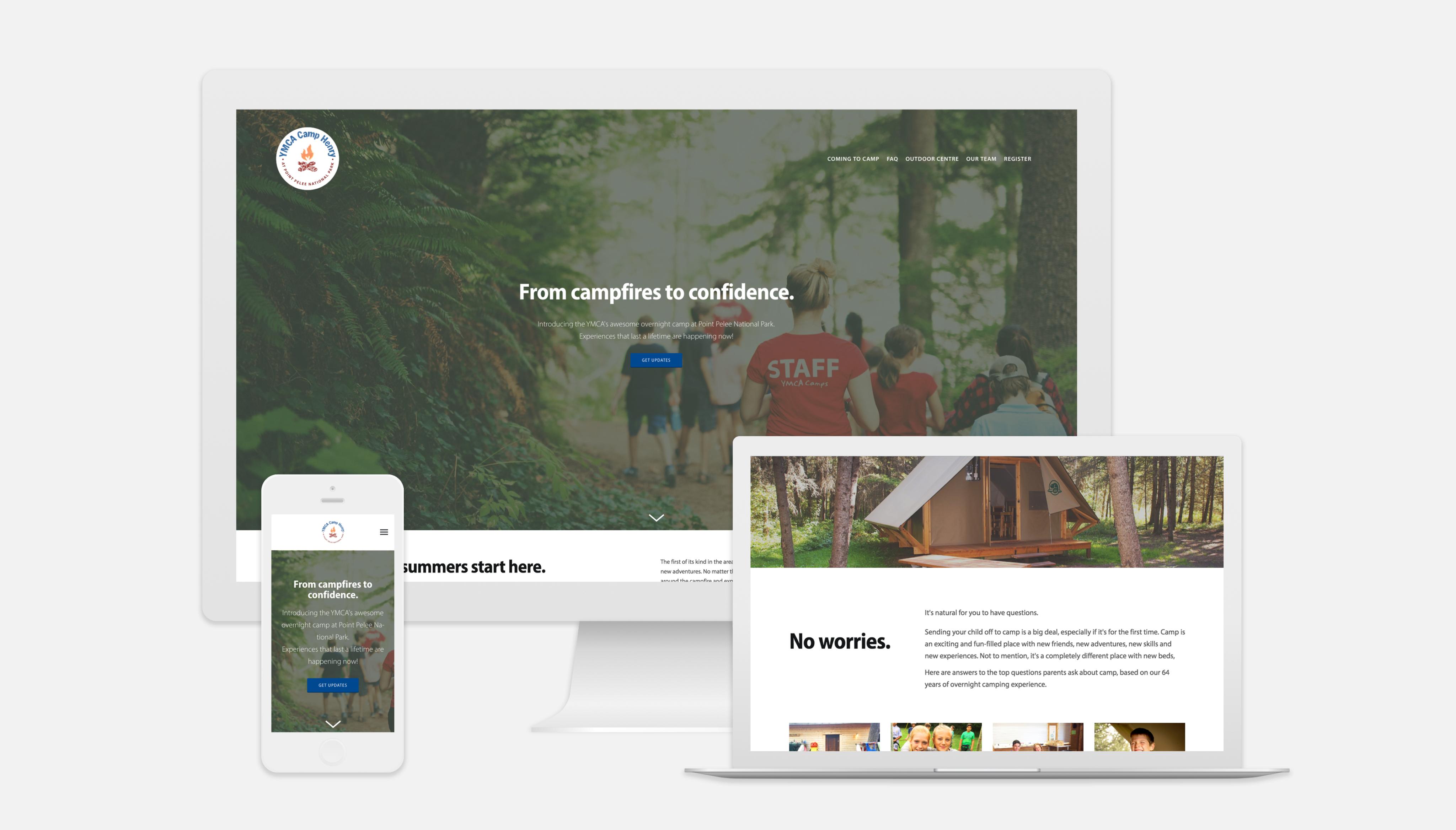 Camp Henry website shown on multiple media platforms