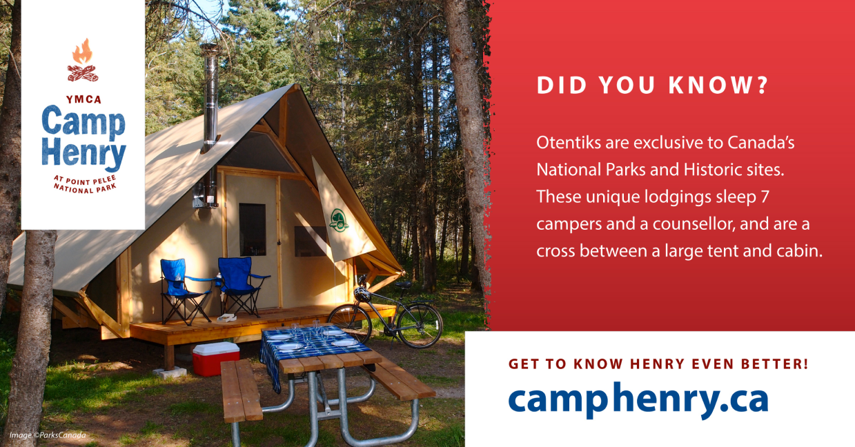 Informational postcard showcasing Camp Henry otentiks