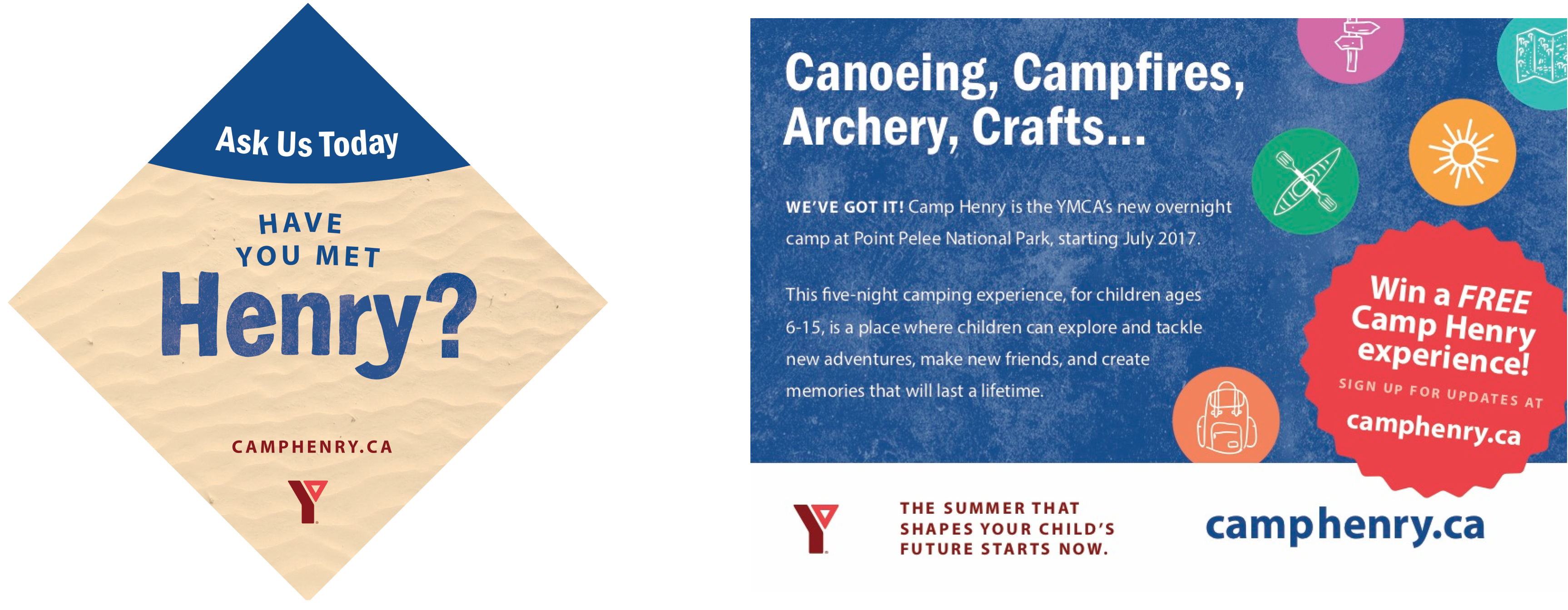 Promotional creative material promoting Camp Henry