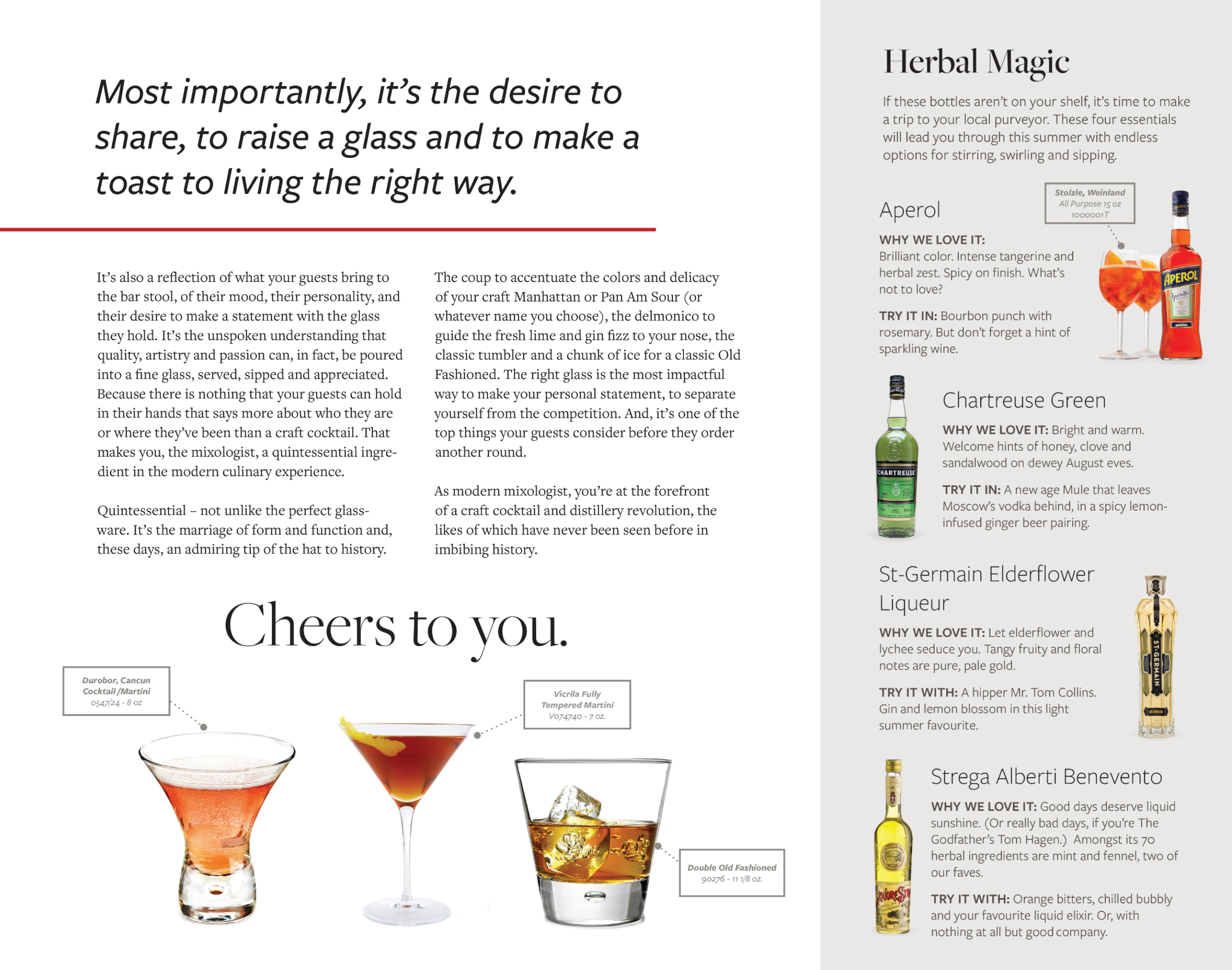 Oneida print material with cocktail recipes