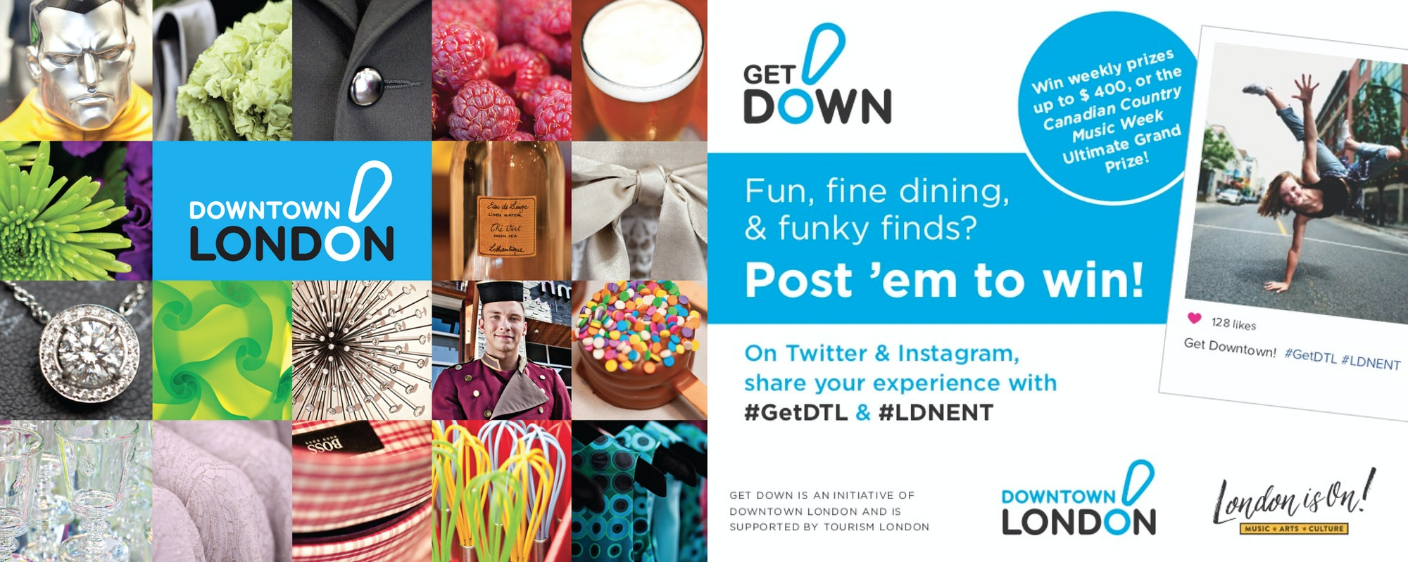 Photo collage showcasing various downtown London products & advertising contest