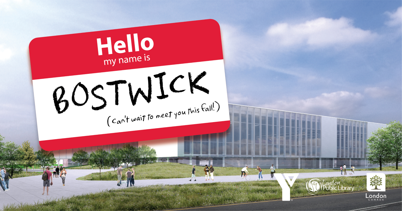 """Picture of Bostwick YMCA with sticker reading """"Hello my name is Bostwick"""""""