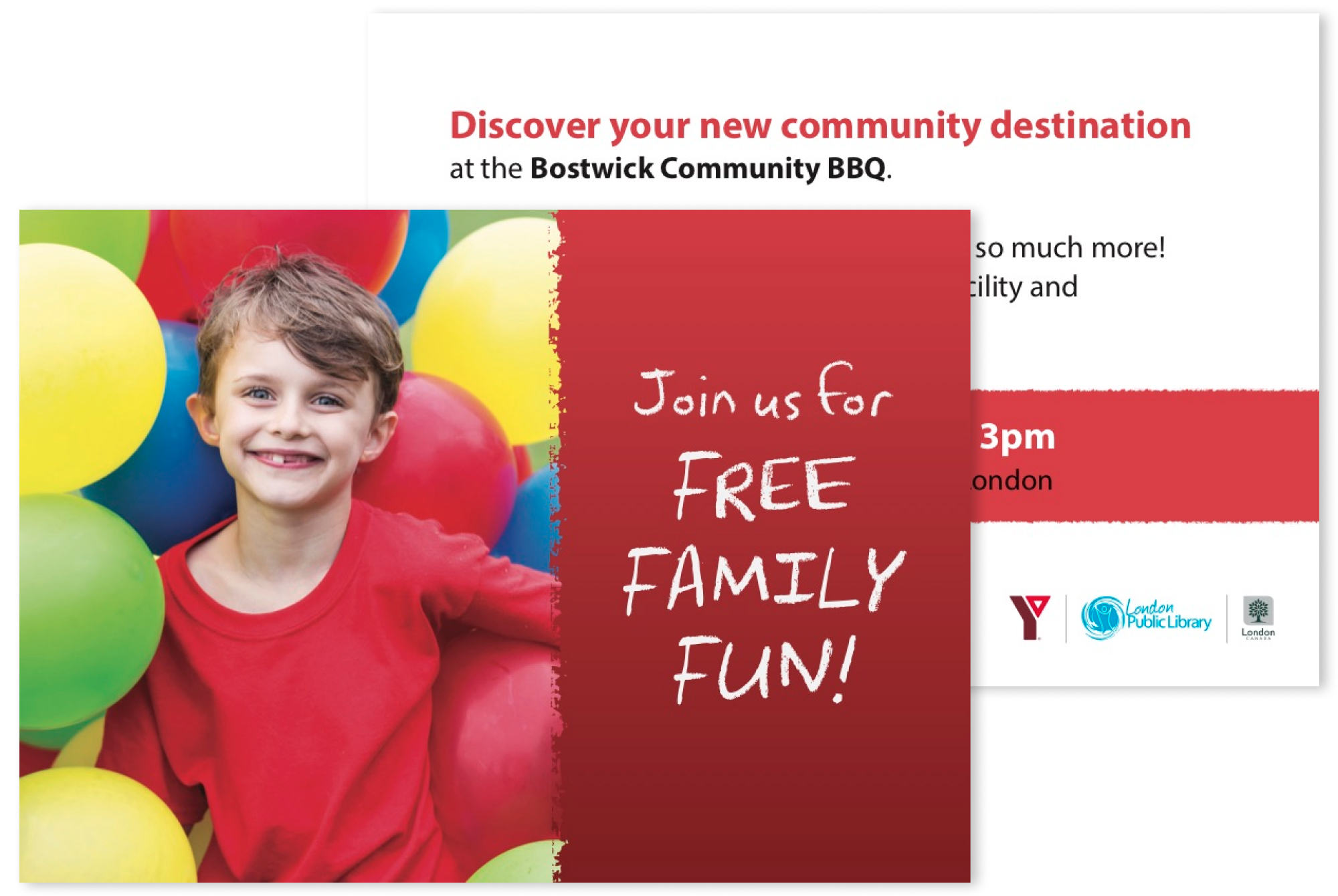 Postcard advertising a family BBQ at the Bostwick Community Centre