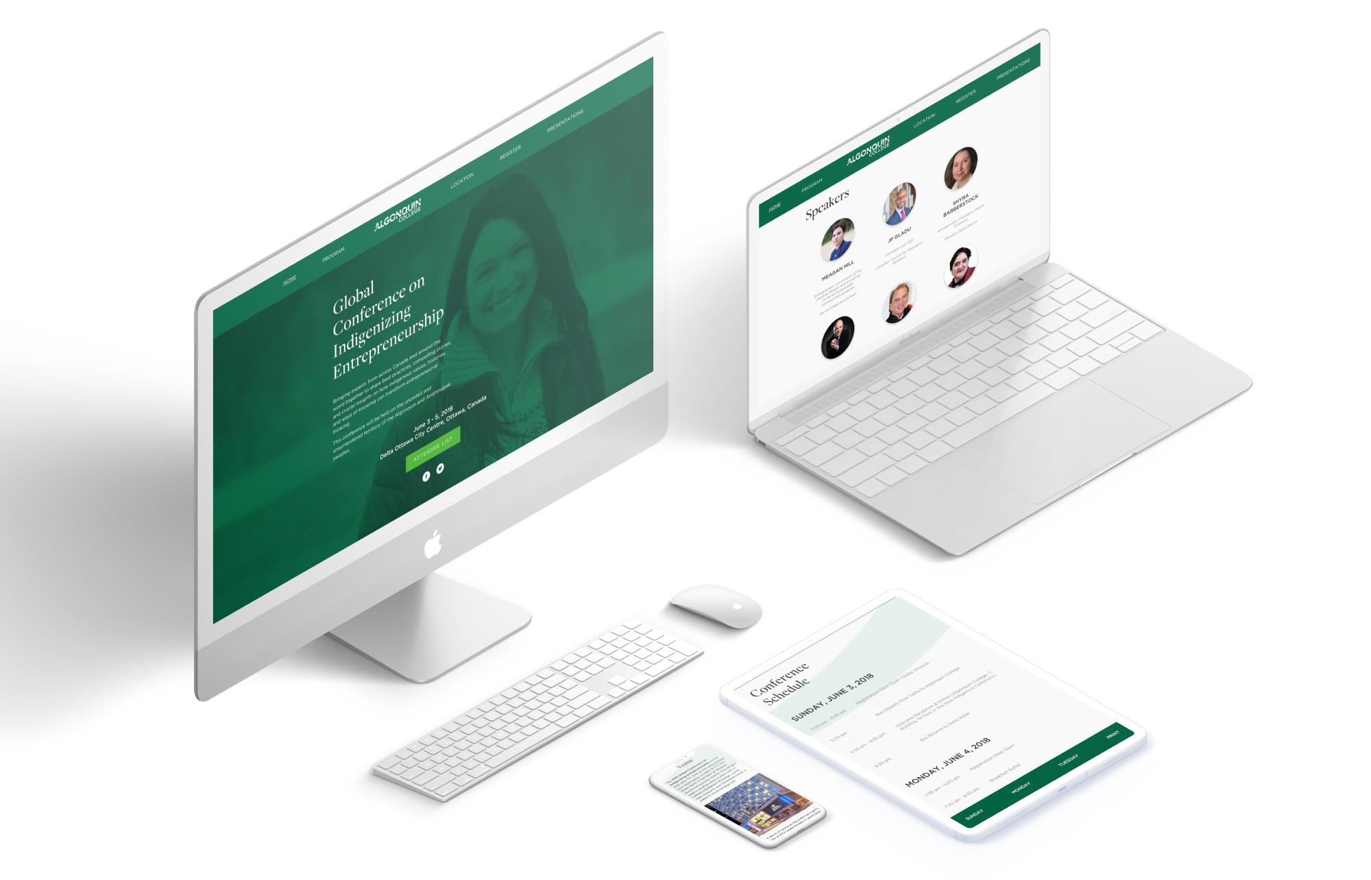 A variety of digital screens showcasing the GCIE website