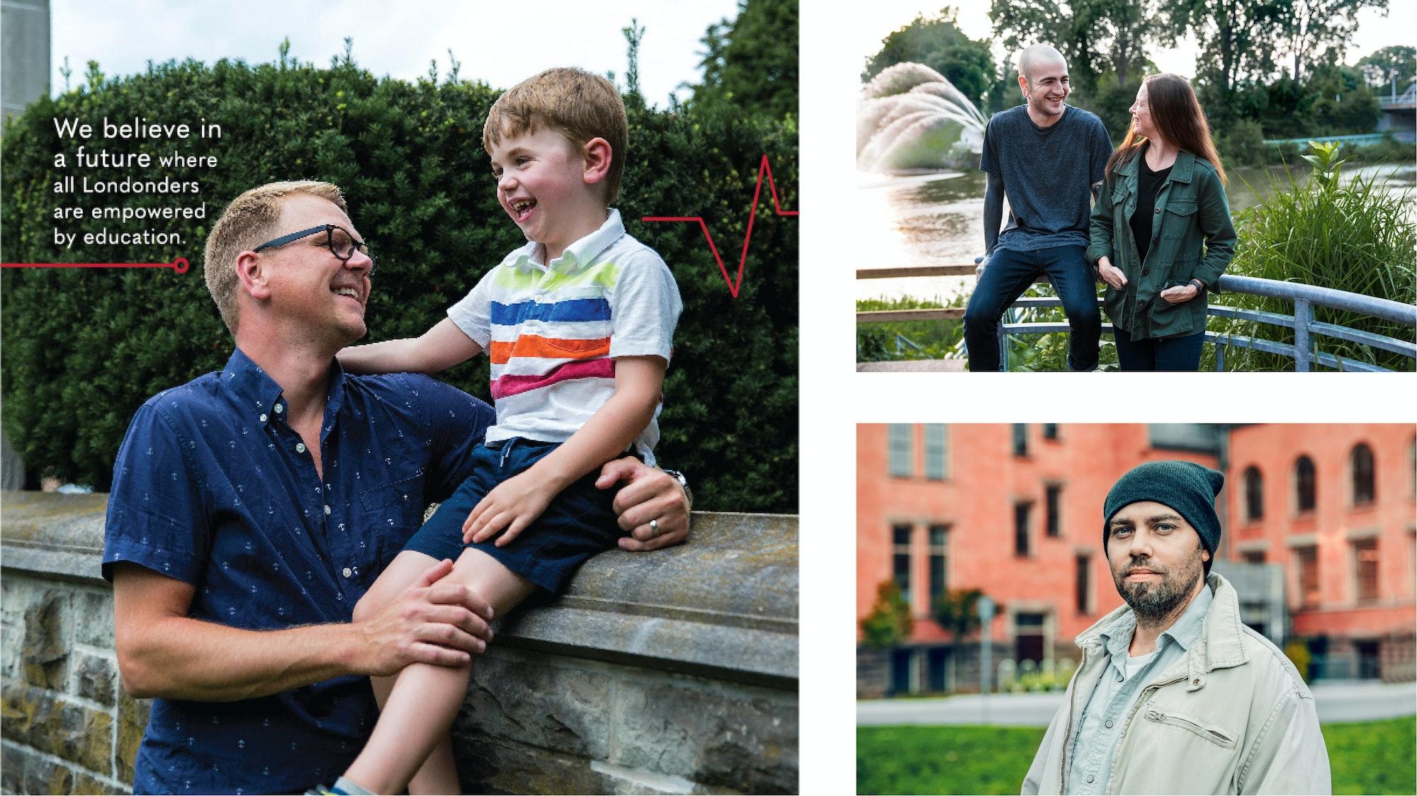 Three photographs of Londoners around the city