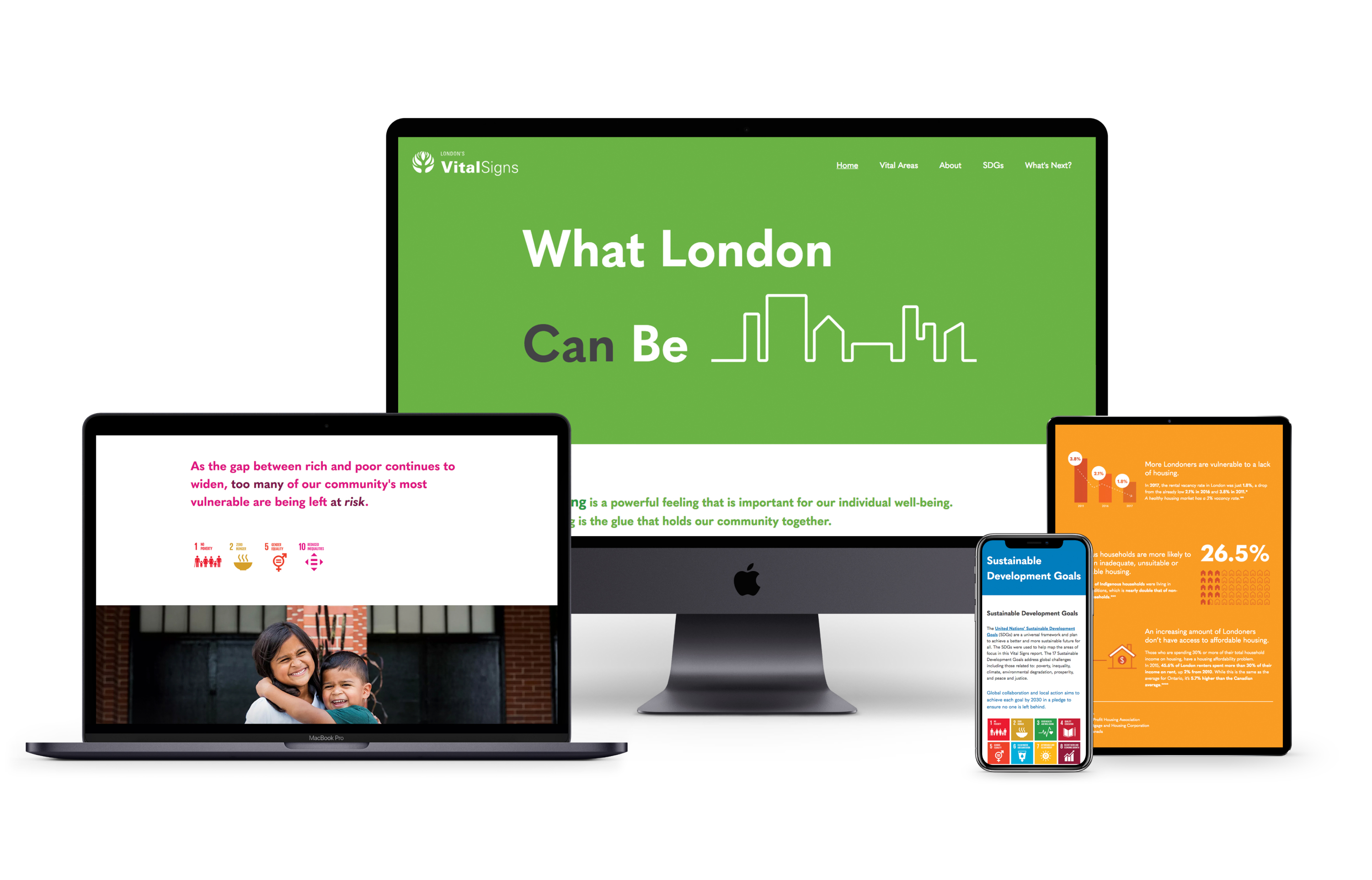 The LCF's 2018 Vital Signs website, displayed on multiple screen sizes
