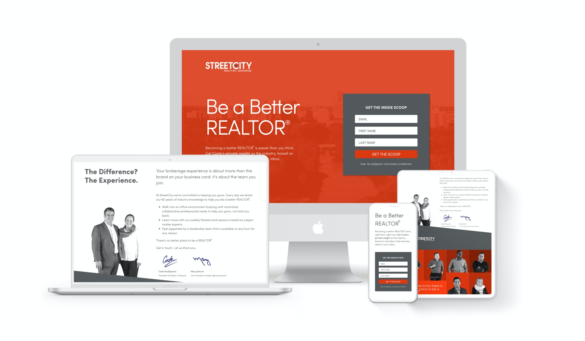 StreetCity campaign landing page on multiple screen sizes