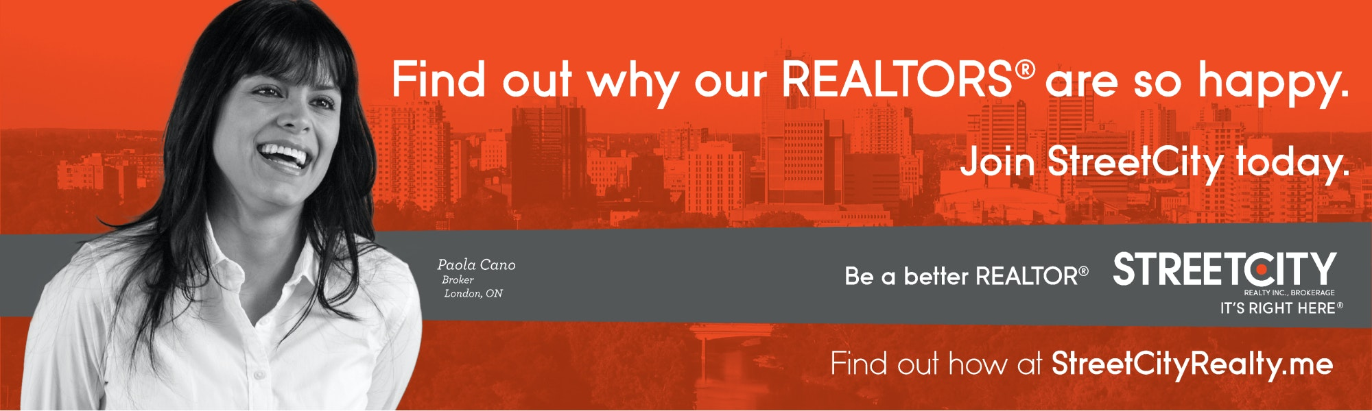 """As ad with smiling realtor that says """"find out why our realtors are so happy"""""""