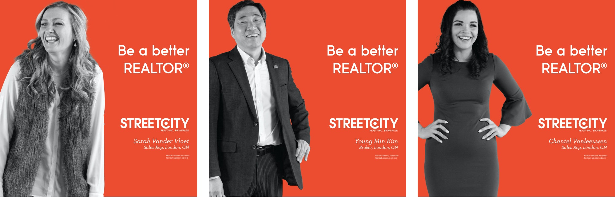 Three advertisements showing realtors and their testimonials