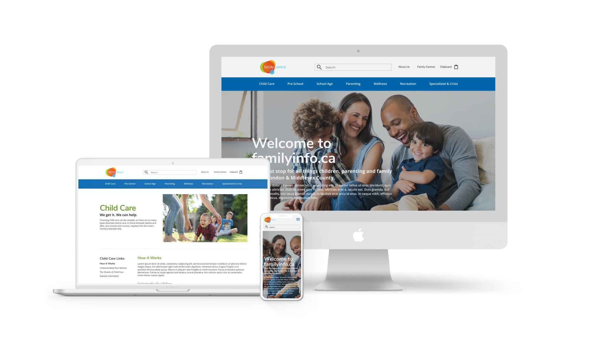 FamilyInfo website on multiple devices