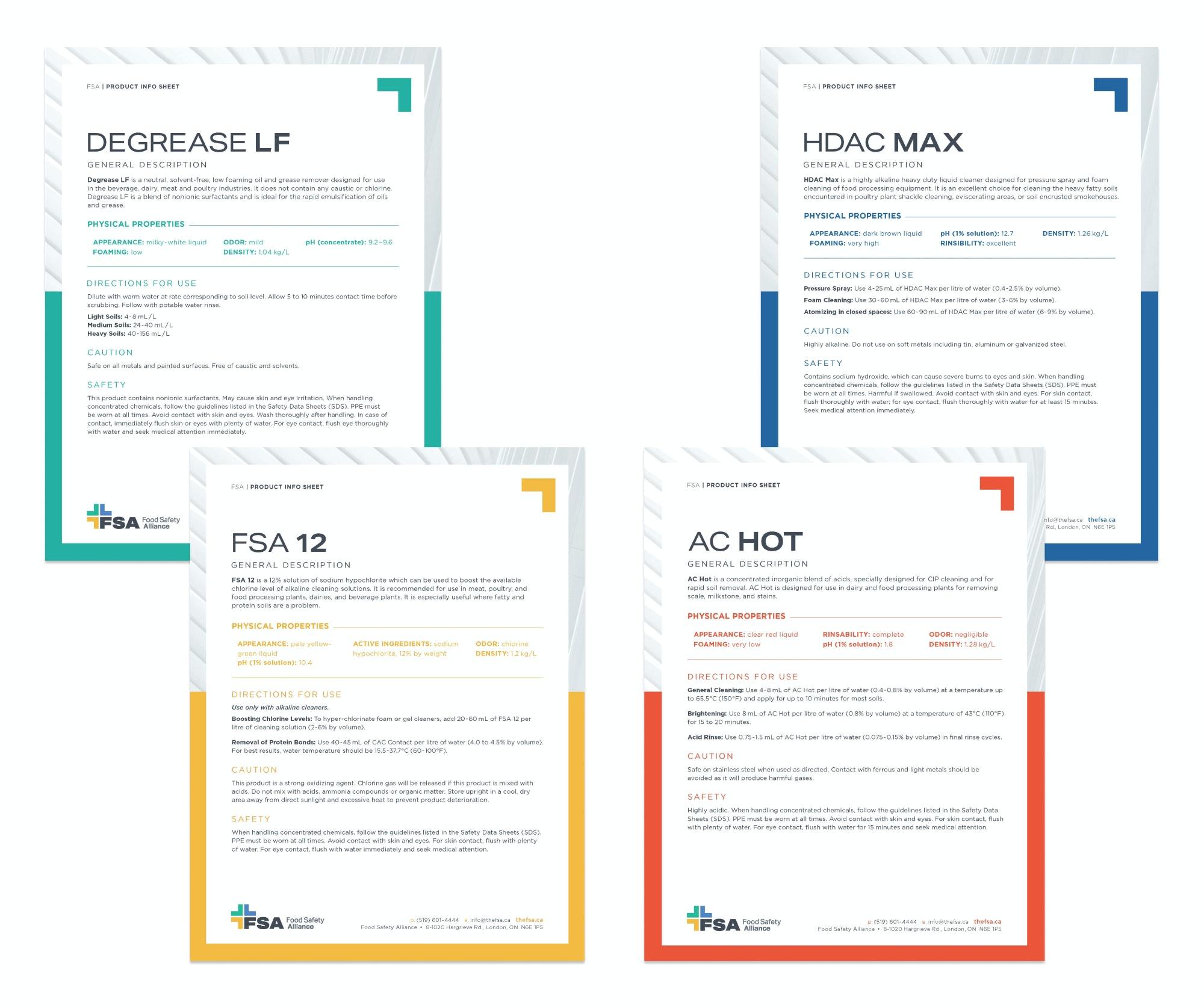 FSA product information sheets