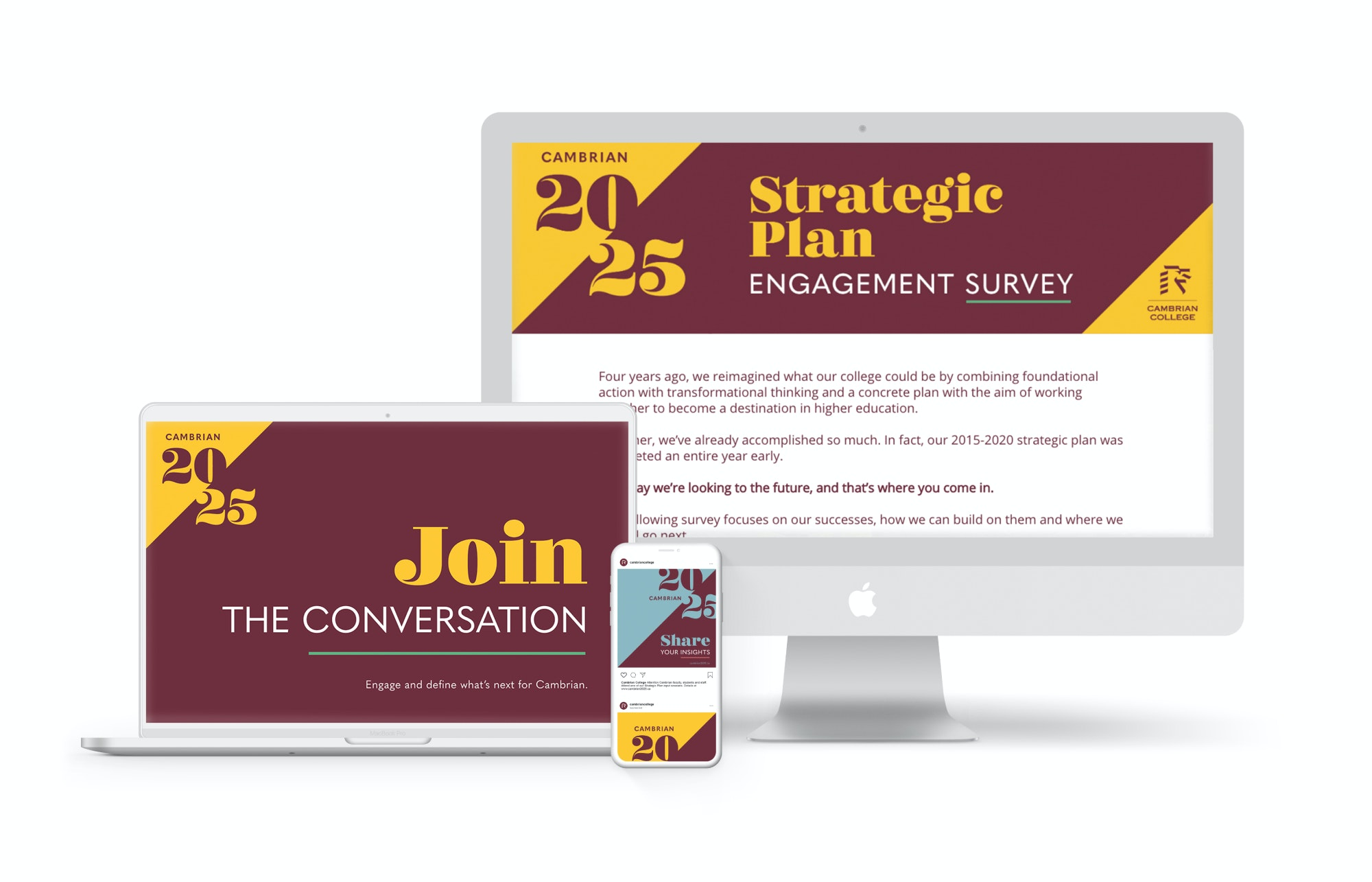 Cambrian strat plan engagement website on multiple screens