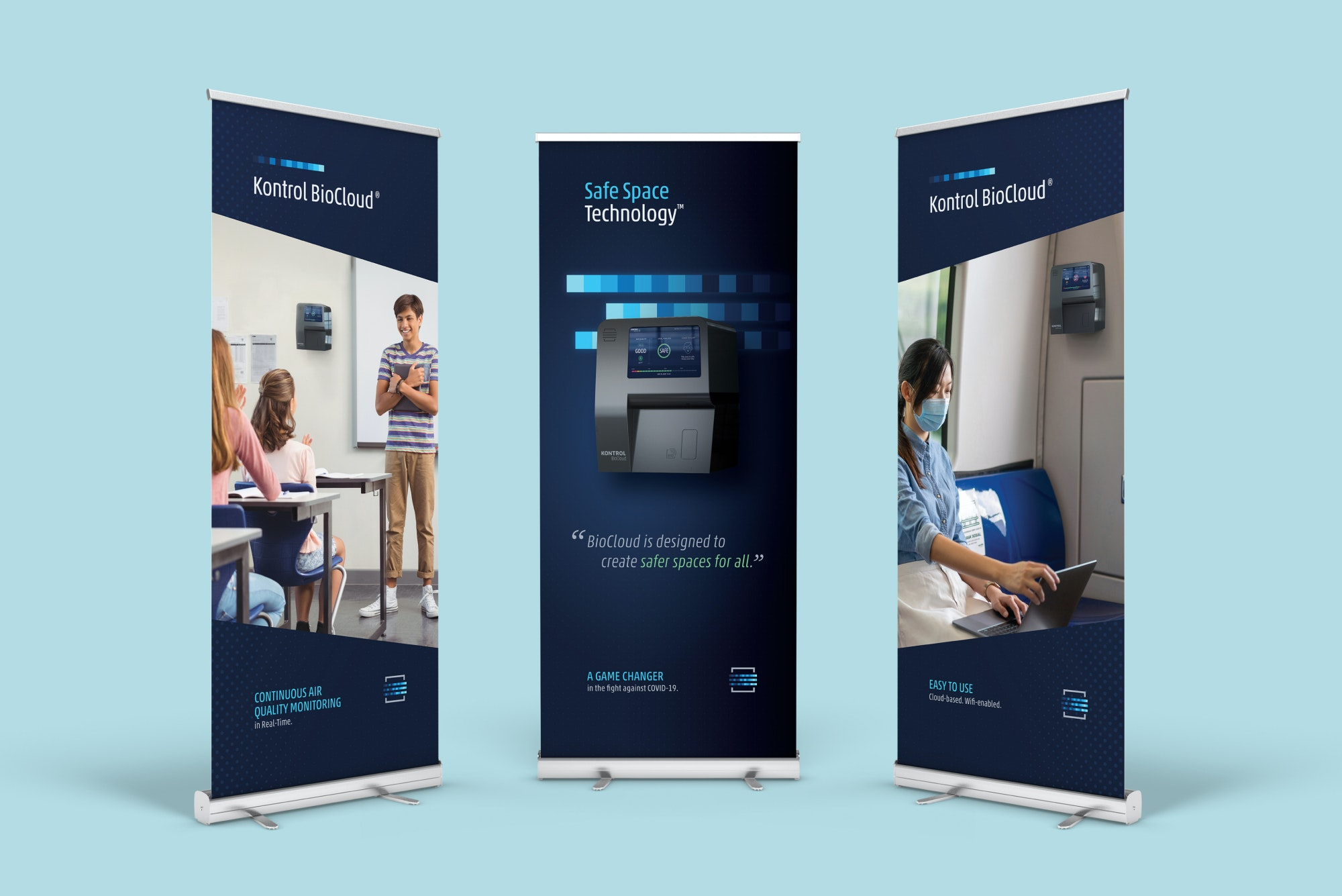 Three roll up banners displaying Kontrol Biocloud product