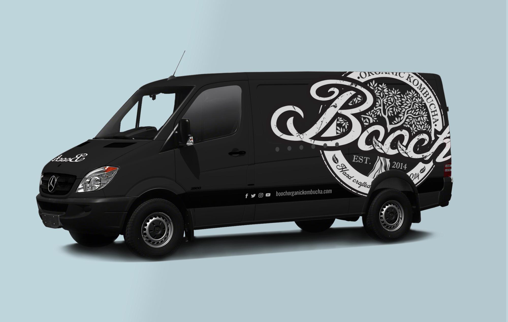 Black van with white Booch logo