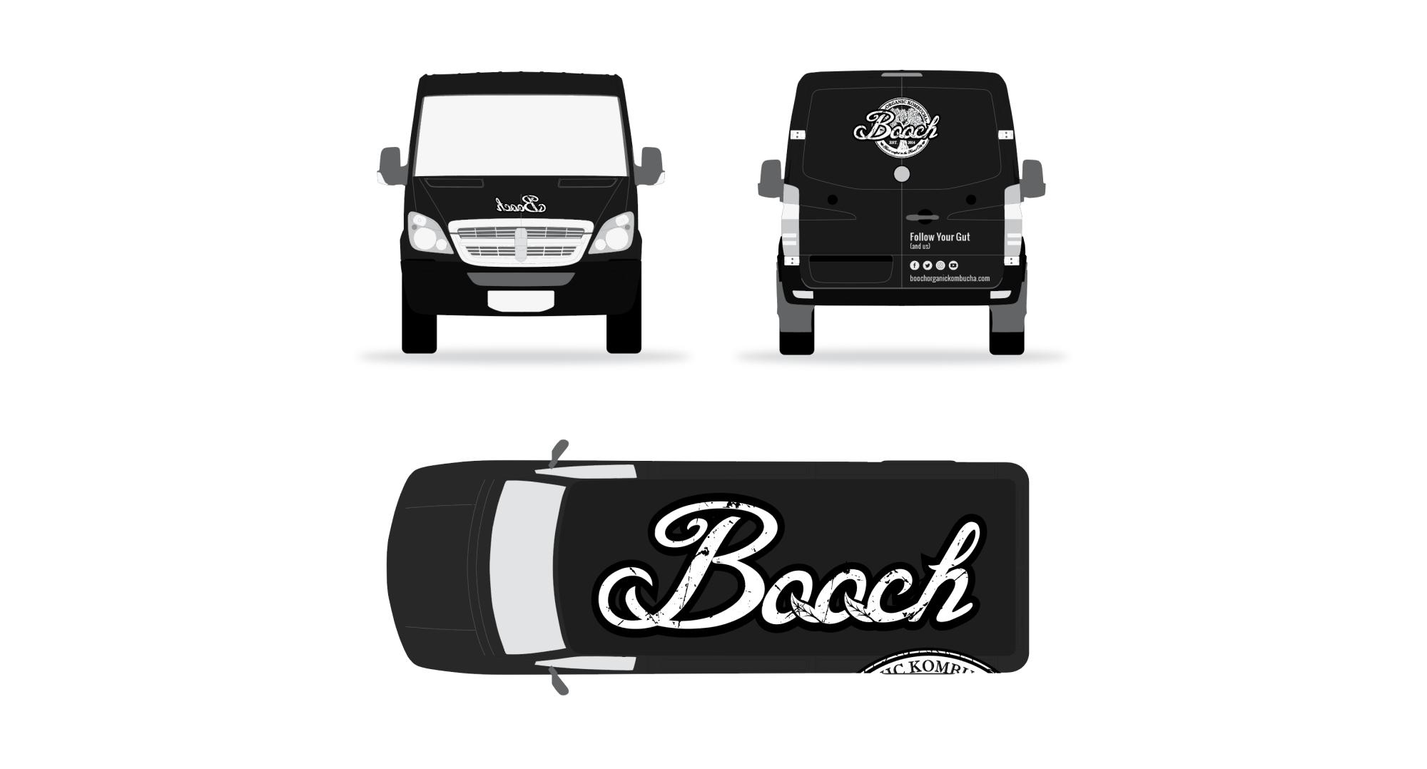 Three view of black van with white Booch logo