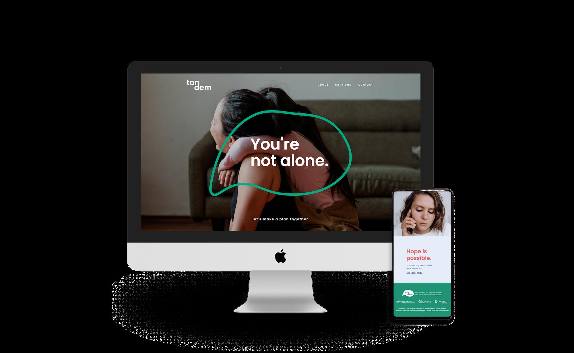 Tandem website landing page on desktop and mobile