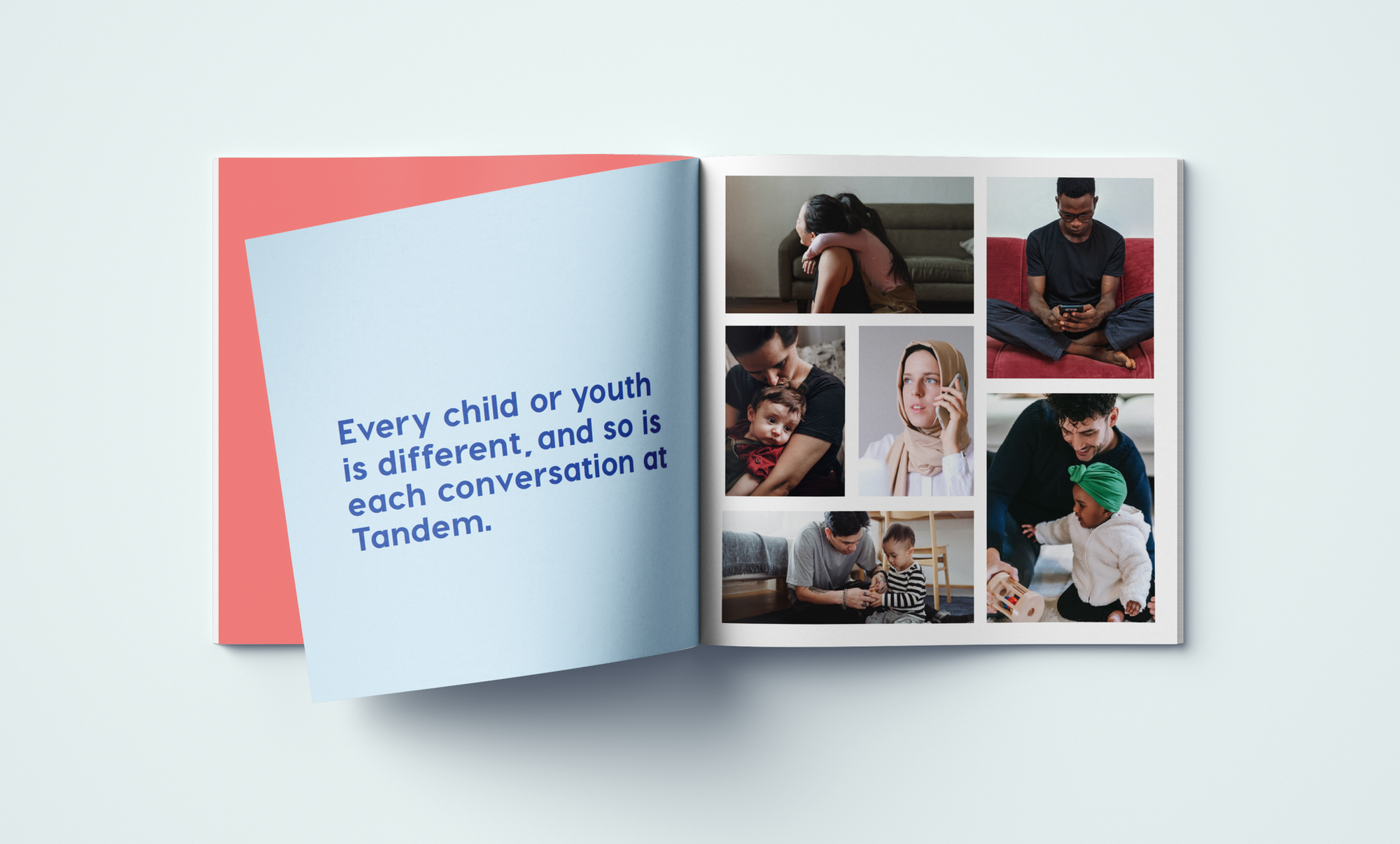 Book with images reading: Every child or youth is different, and so is each conversation at Tandem.
