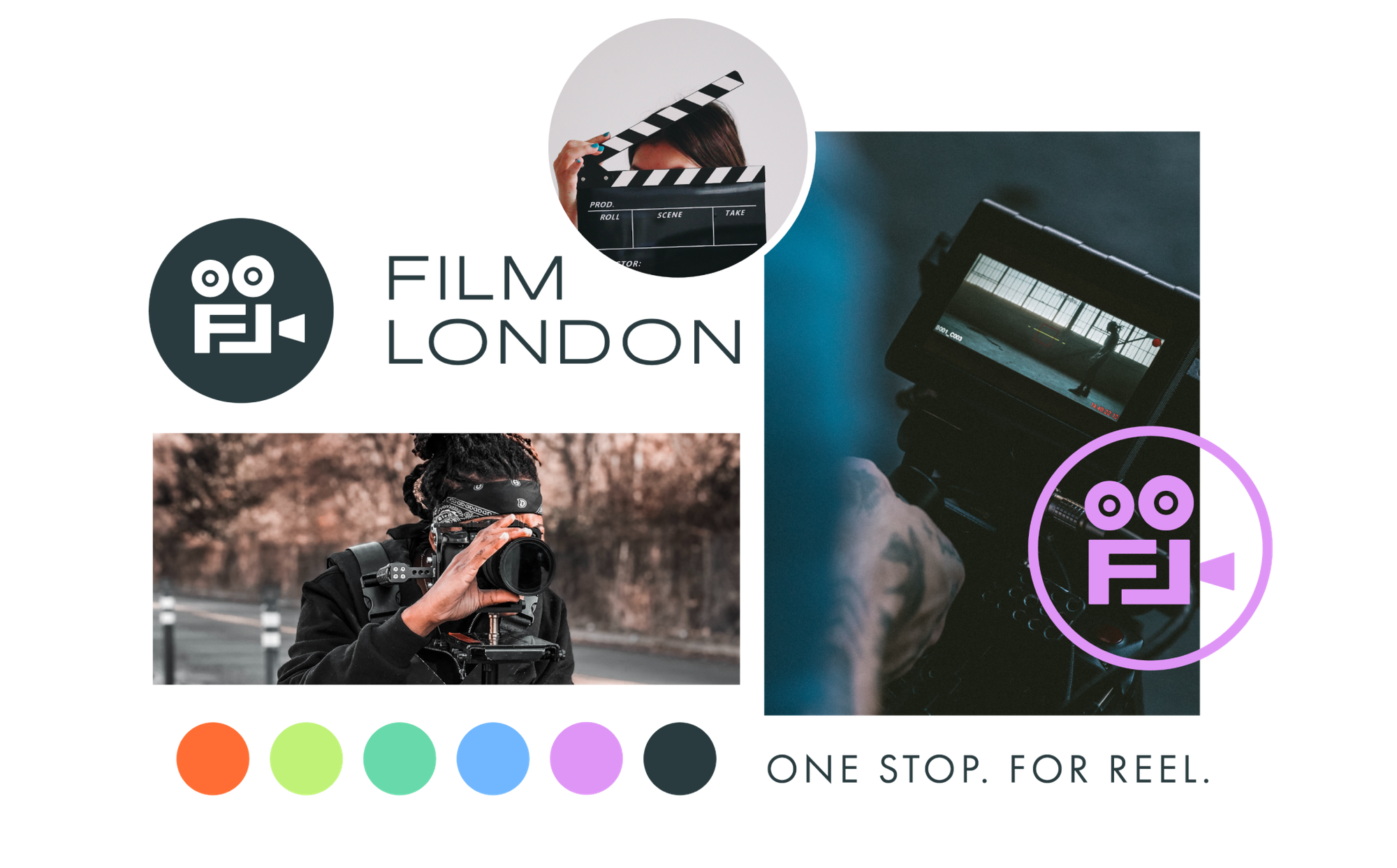 Film London mood board with logos, photography and colour palette