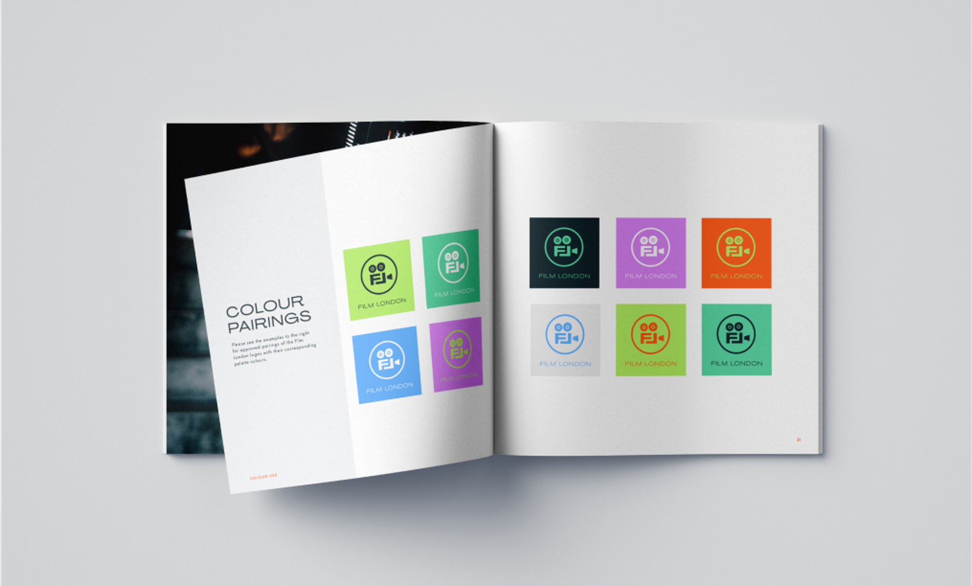 Style guide book open to logo colour pairings