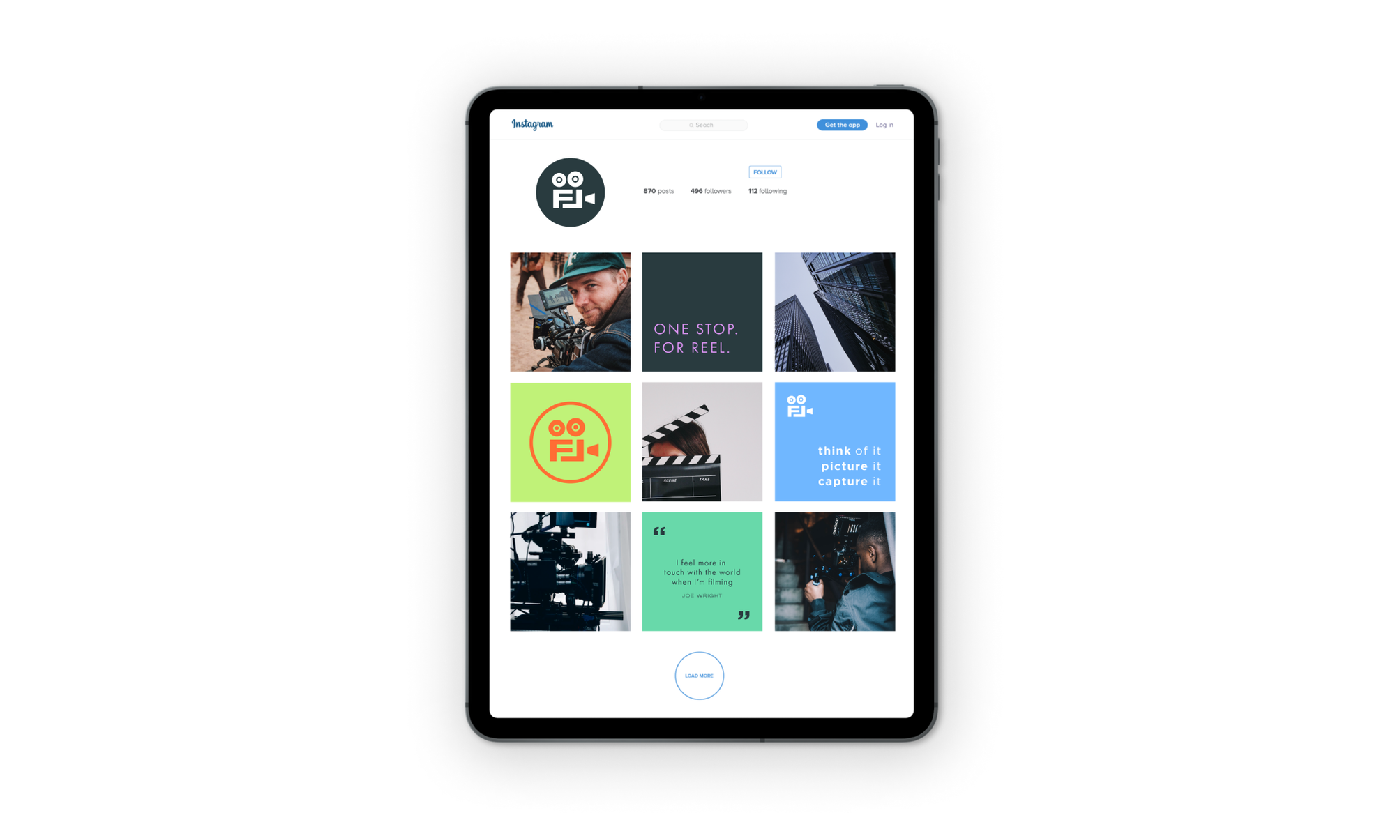 Film London Instagram feed mocked up on a tablet