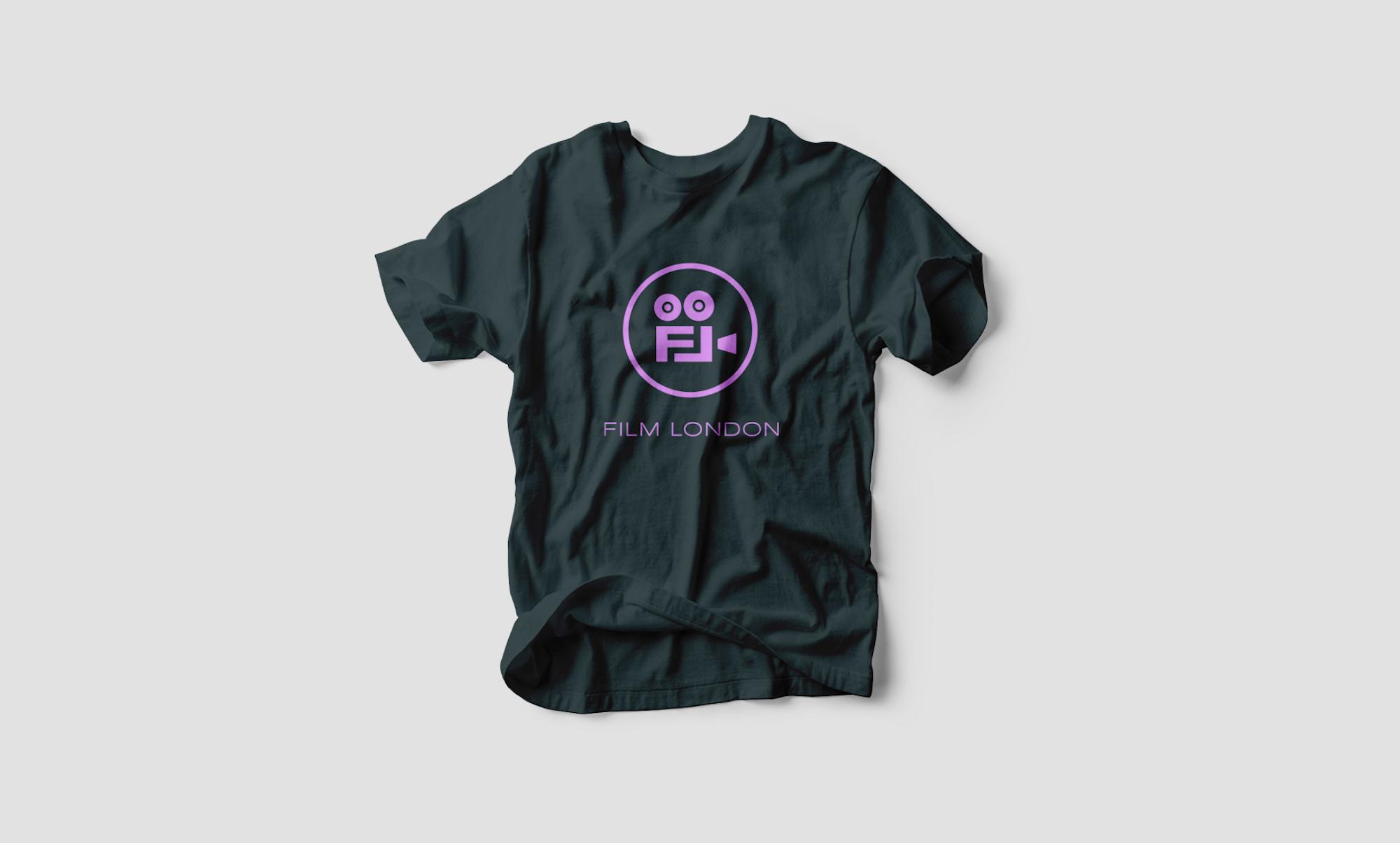 Black t-shirt with purple Film London logo