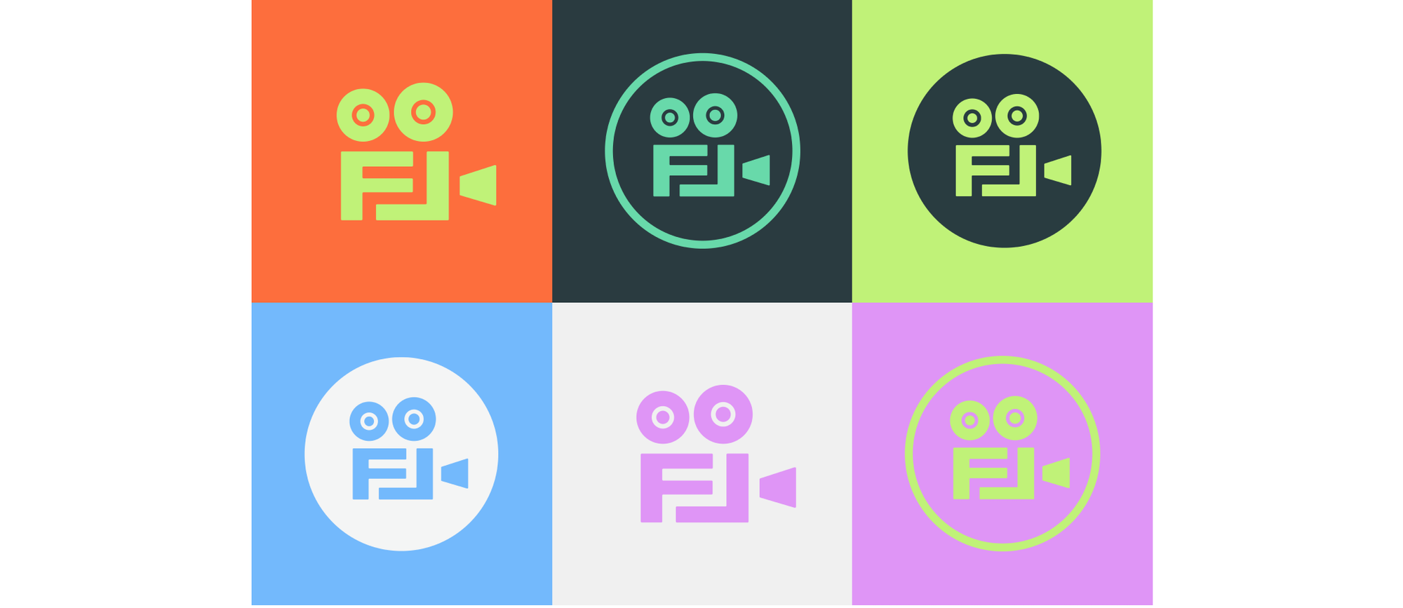 six coloured Film London logos on coloured backgrounds