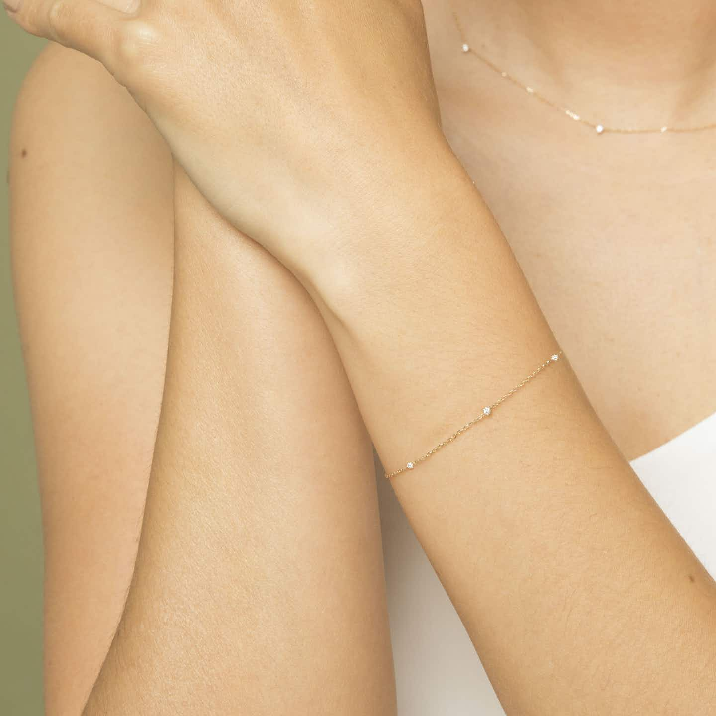 Closeup image of Tiny Diamond Station Bracelet
