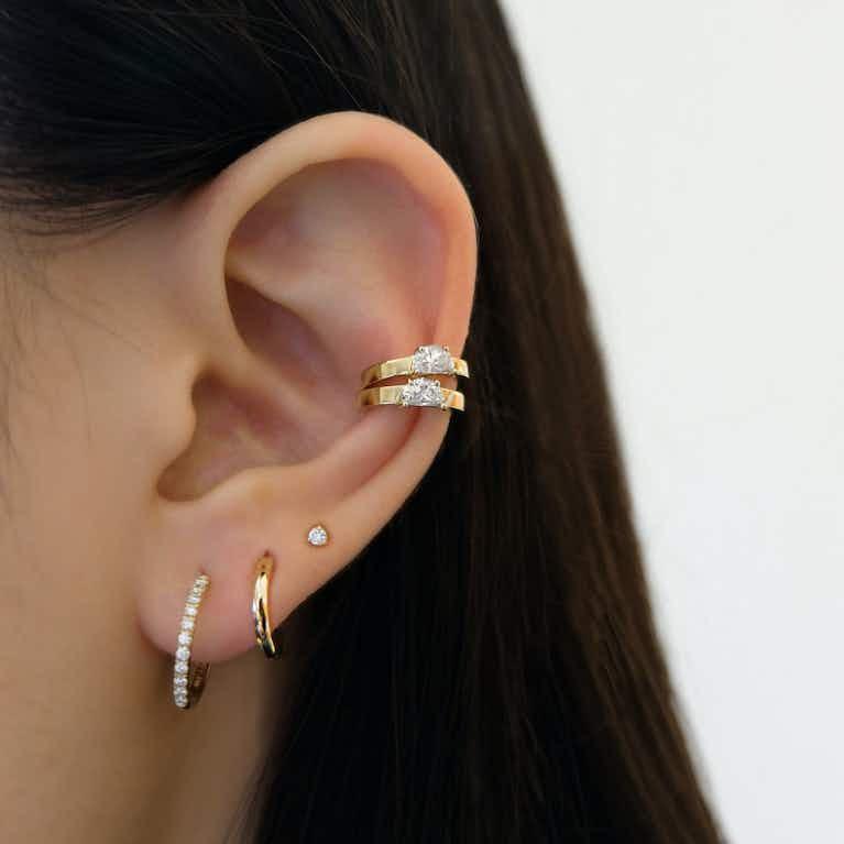 Closeup image of Half Moon Ear Cuff