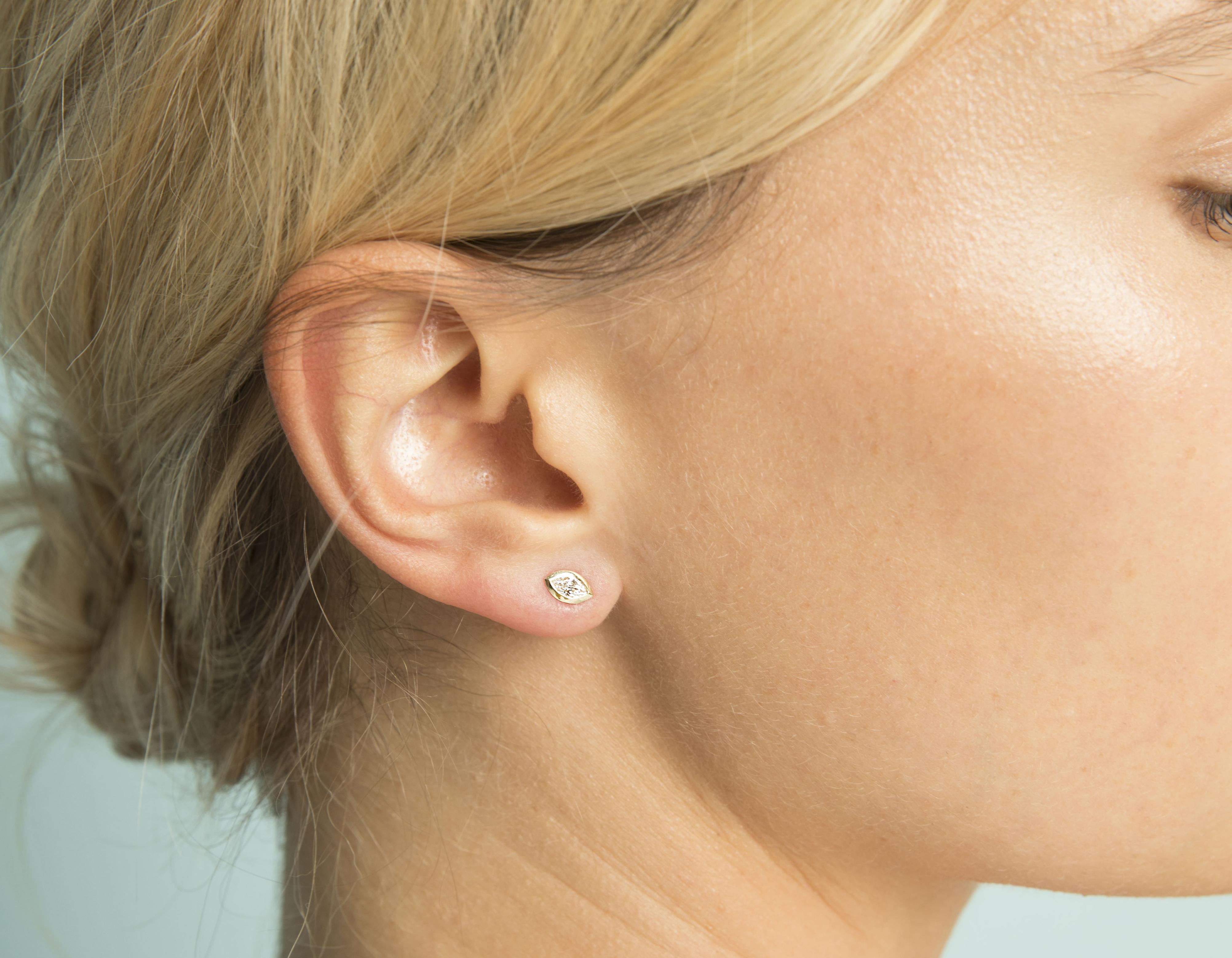 Marquise Diamond Bezel Earrings Sustainably Created Diamond